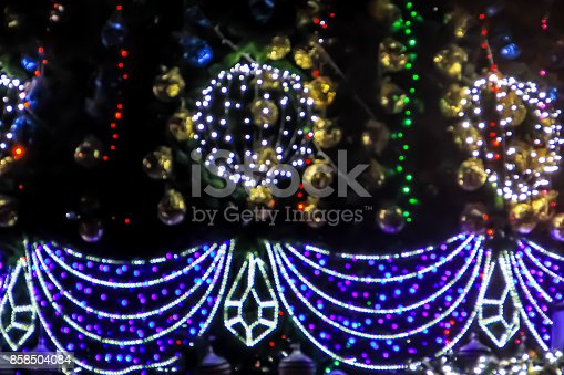 istock Detail of decorated christmas tree with xmas lights 858504084