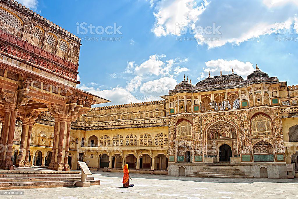 Detail of decorated gateway. Amber fort. Jaipur India stock photo