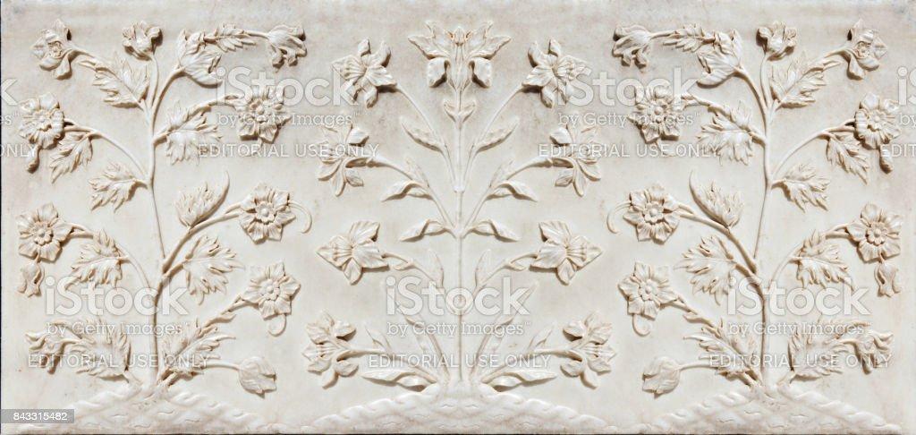 Detail of decorating the Taj Mahal stock photo