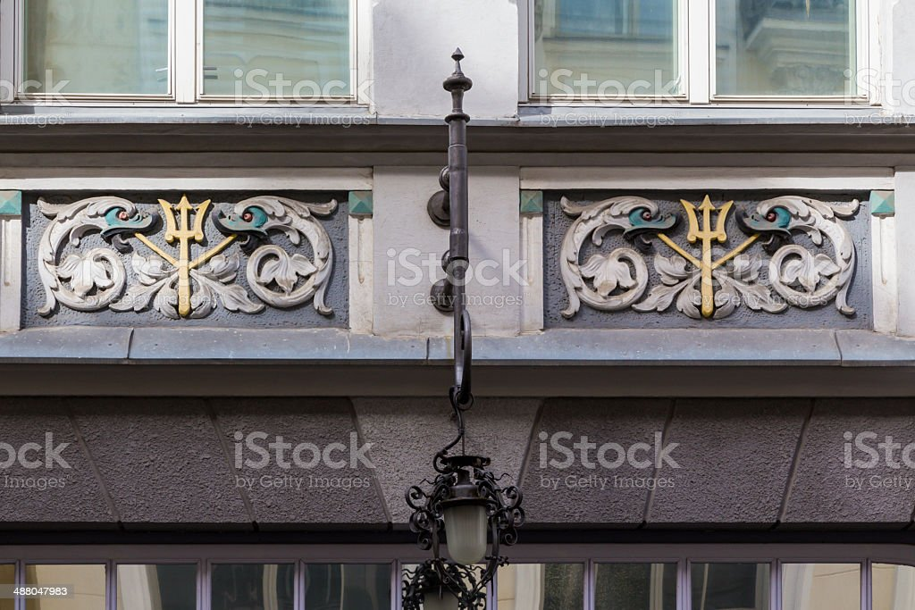 Detail of decorative building facade, Tallinn royalty-free stock photo