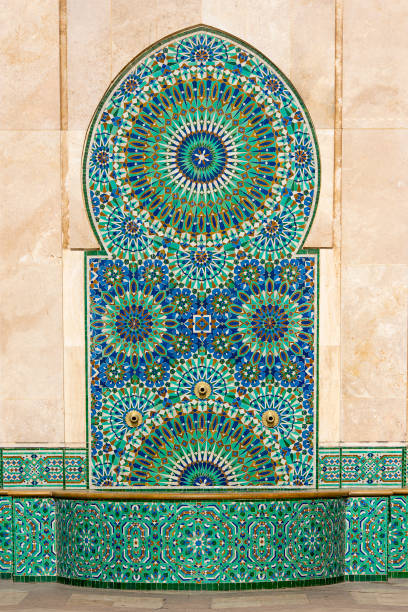 Detail of Decors of Hassan II Mosque in Casablanca Morocco stock photo