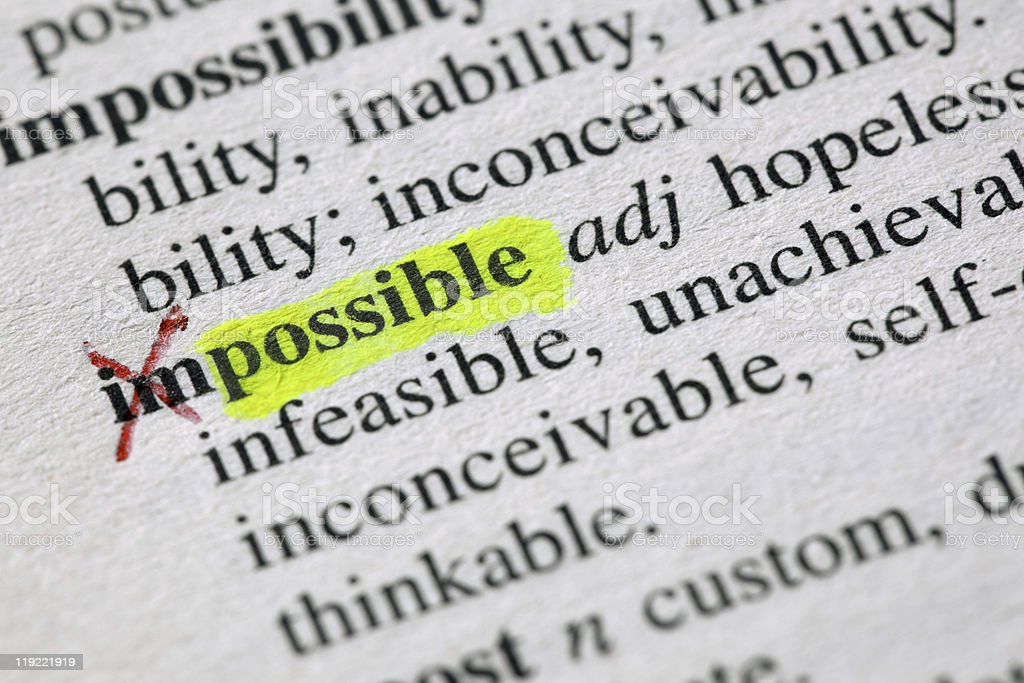Detail of definition of impossible with the IM crossed out royalty-free stock photo