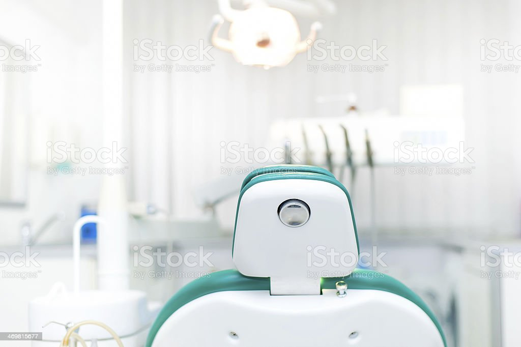 Detail of dentist chair at local dental private clinic stock photo