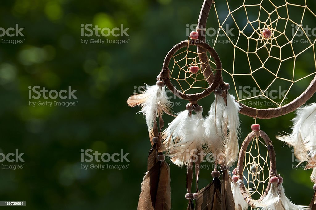 detail of dreamcatcher in the evening stock photo