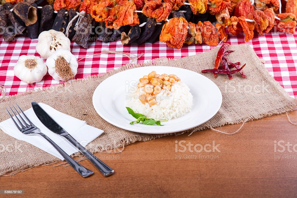 Detail of dried beans and pilaf plate, dried beans top stock photo