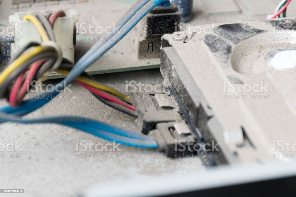 Detail of Dusty Inside of Old DVR, Close Up stock photo