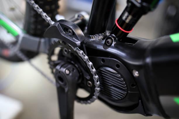 detail der elektro-fahrrad - elektrorad stock-fotos und bilder