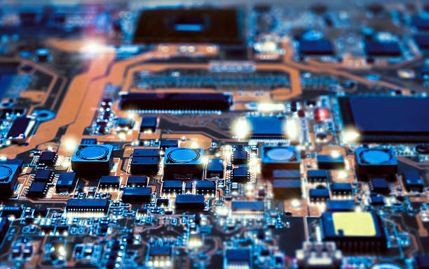 Detail of electronic board in hardware repair shop stock photo