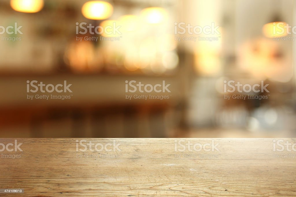 Detail of empty table in a cafeteria, defocused background stock photo