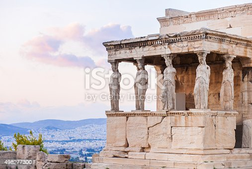 Statues of The Porch of the Caryatids in Acropolis, Athens