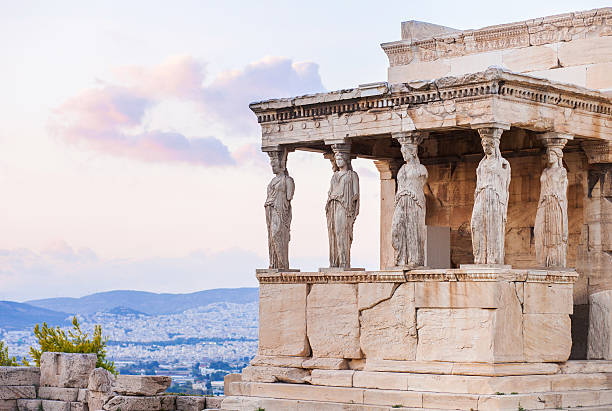 detail of erechtheion in acropolis of athens, greece - ancient stock photos and pictures