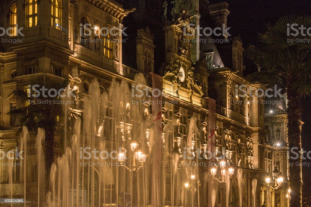 Detail of facade of the city hall of Paris, France stock photo