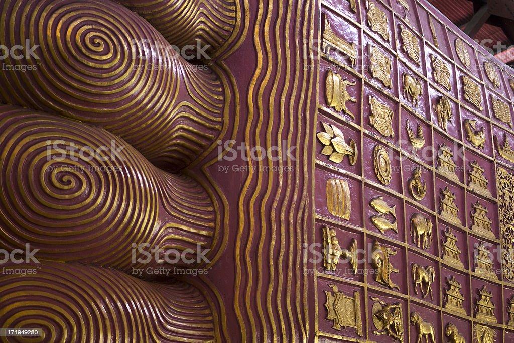Detail of feet, the reclining Chauk Htat Gyi buddha stock photo
