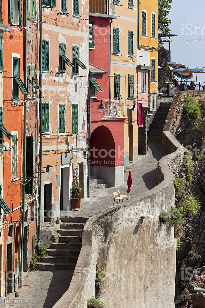 Detail of fishing village Riomaggiore Cinque Terre In Italy royalty-free stock photo
