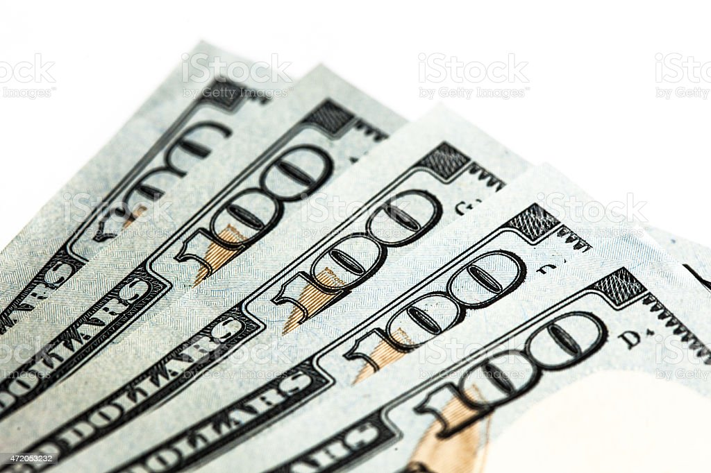 Detail of Five 100 Dollar BIlls stock photo