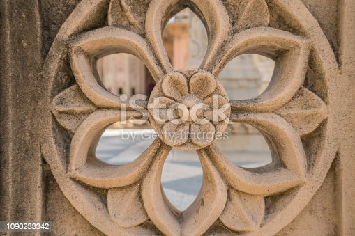 Detail of flower carving in wall inside Indian temple, Jaipur