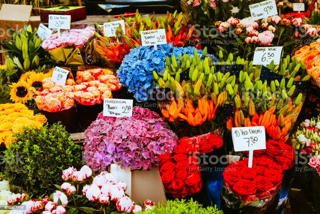 Detail of flower shop stock photo