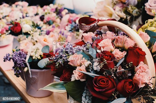 Detail of flowers in a flower shop.