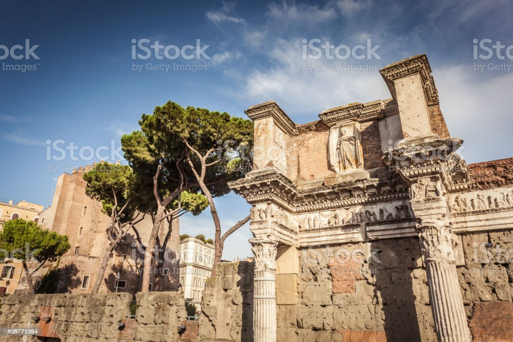 Detail of forum of Augustus in Rome stock photo
