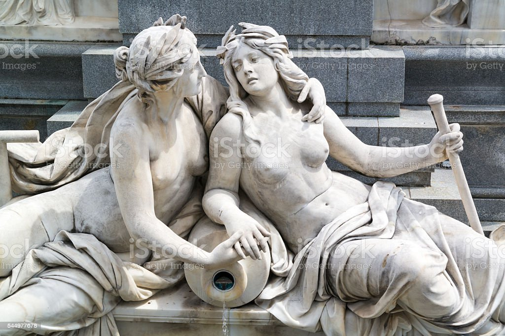 Detail of fountain in front of Parliament, Vienna stock photo