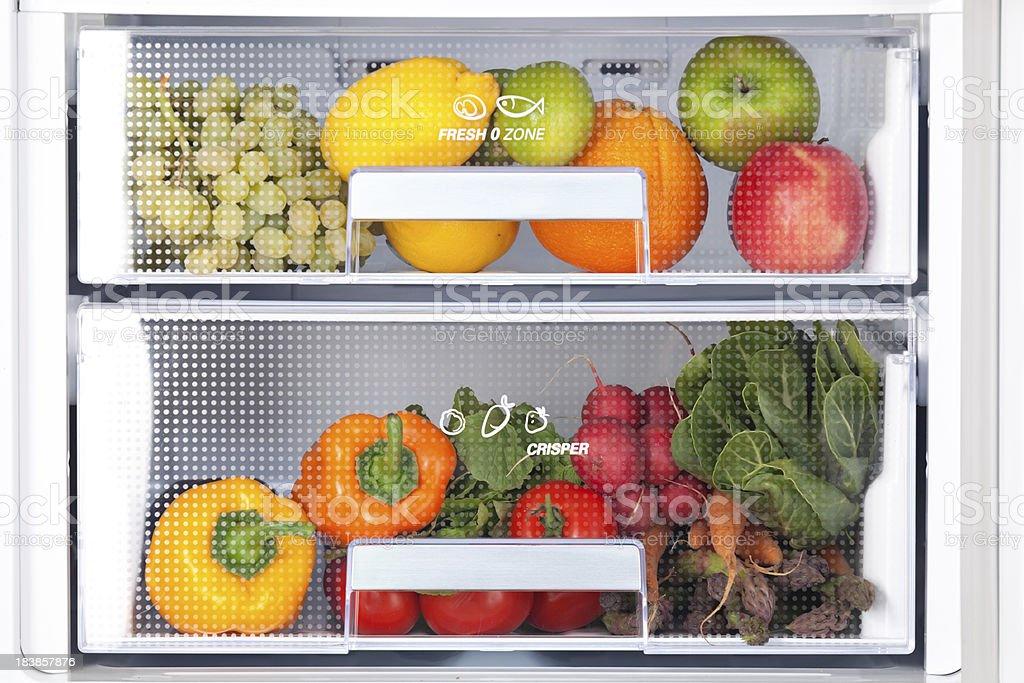 detail of fridge with fresh food stock photo