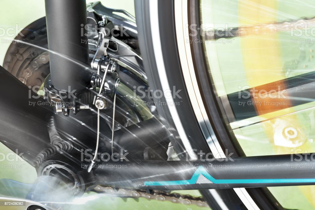 Detail Of Front Derailleur And Back Wheel stock photo