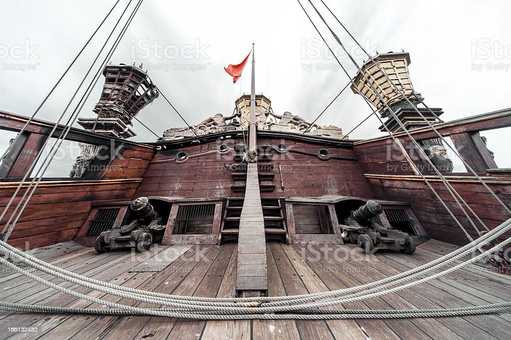 Detail of Galeone Neptune ship stock photo