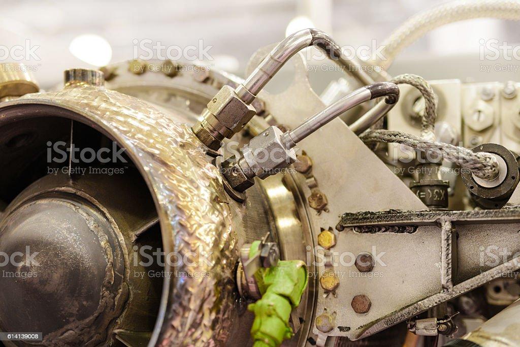 Detail of gas-turbine auxiliary power unit stock photo