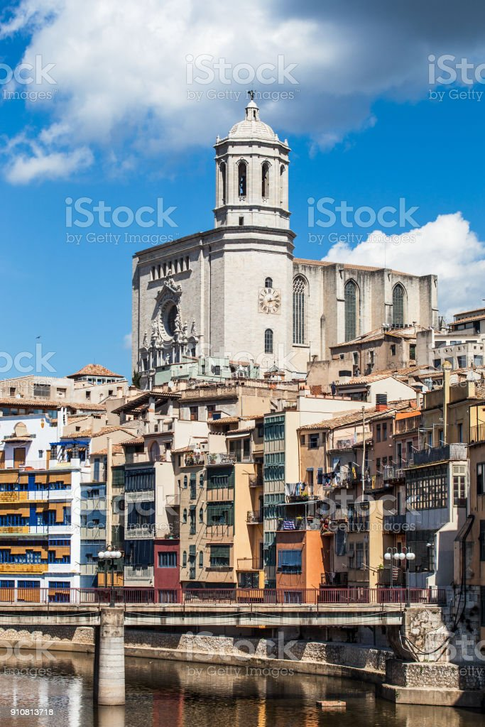 Detail of Girona cathedral stock photo