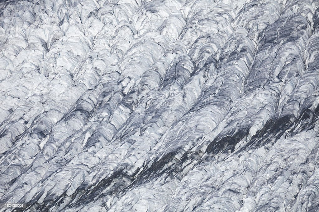 Detail of glacier crevasses and textures at Aletsch Glacier, Switzerland royalty-free stock photo