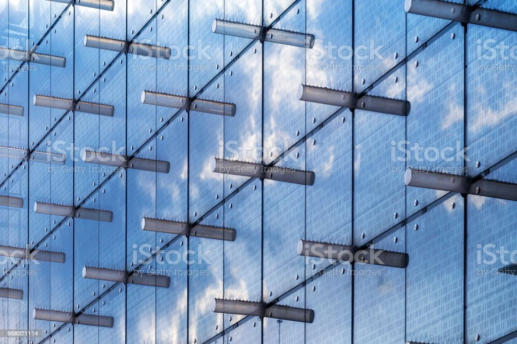 Glass Facade Of Office Building Royalty Free Stock Image: Detail Of Glass Facade In Modern Office Building Stock