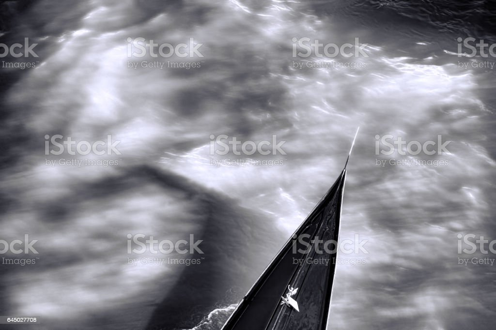 Detail of gondola on Grand canal in Venice, Italy stock photo