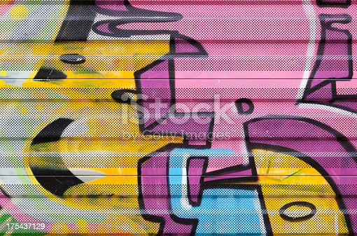 istock Detail of graffiti on noice barrier along railway. 175437129