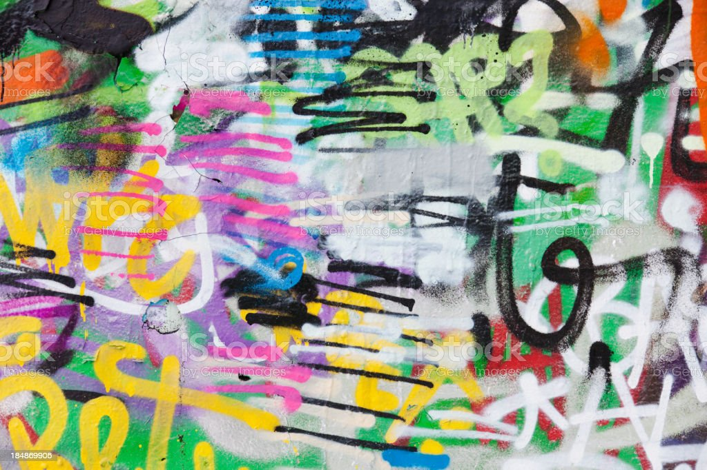 Detail of graffiti painted illegally on public wall. stock photo