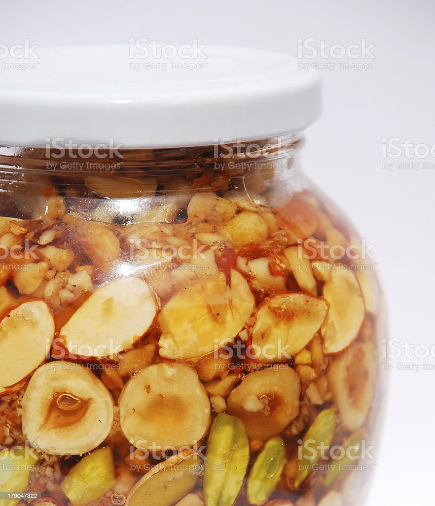 Detail of Greek Honey and Nuts in Natural Light royalty-free stock photo