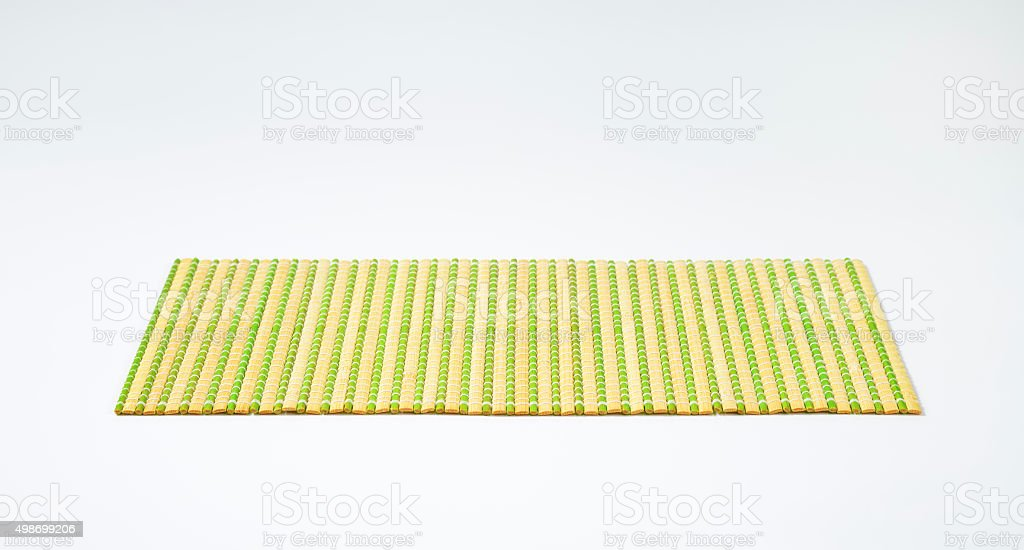 Detail of green bamboo place mat backgrounds stock photo