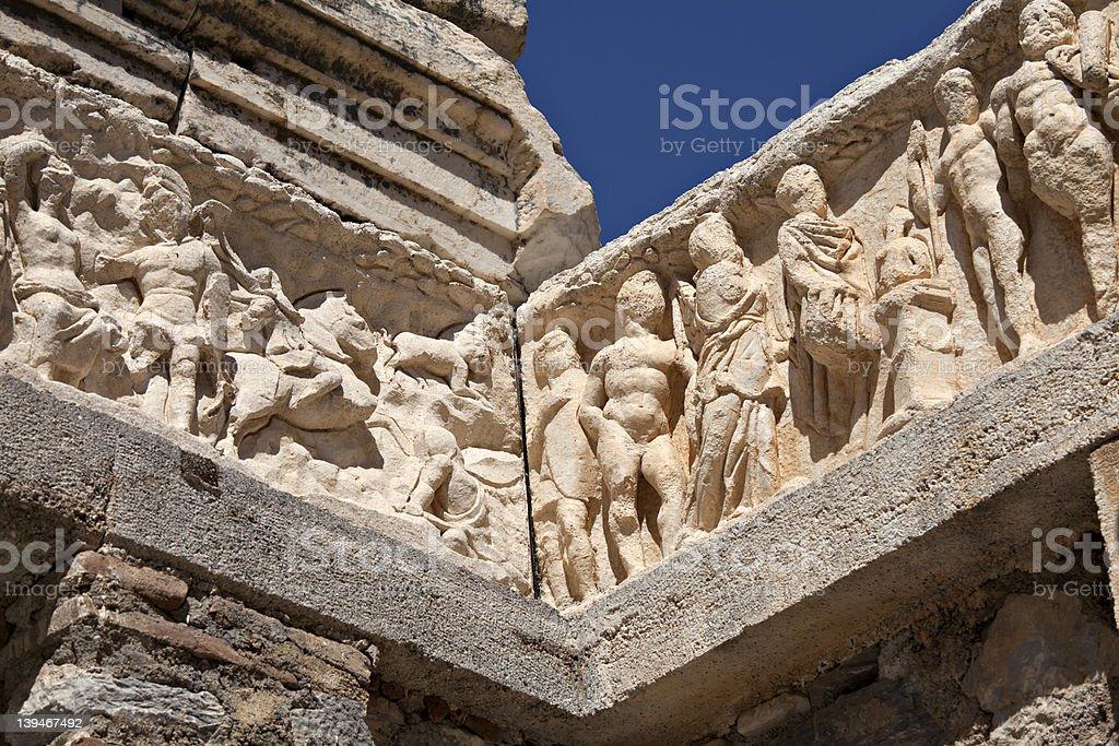 Detail of Hadrian's Temple, Ephesus, Turkey stock photo