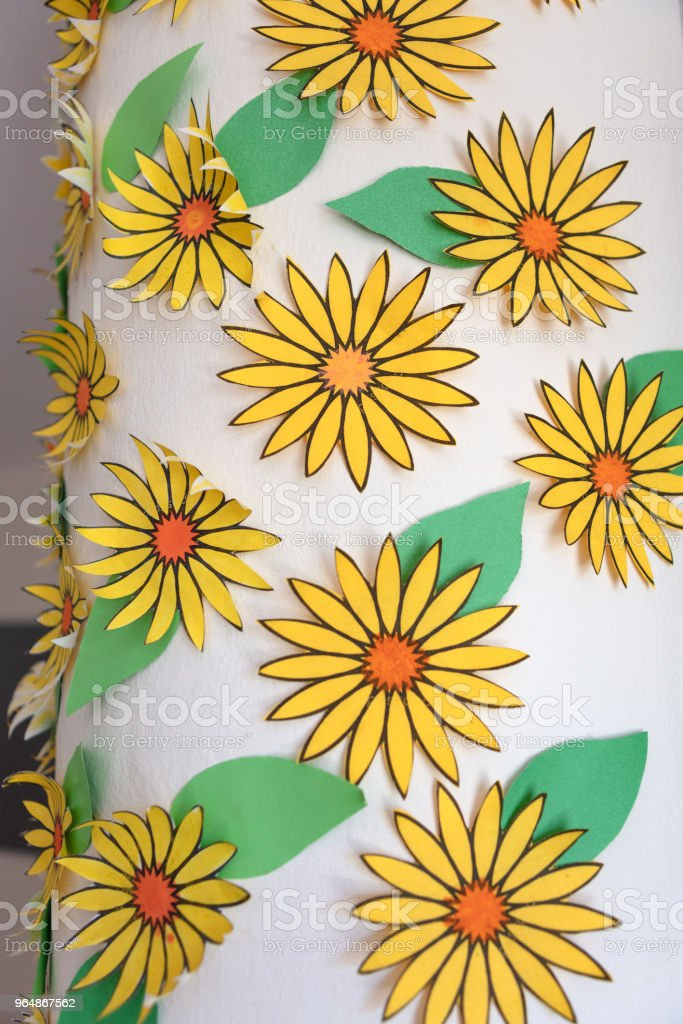Detail of hand painted paper  flowers royalty-free stock photo