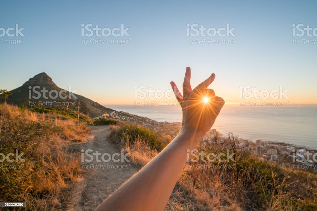 詳細的手伸到杯射線的日落 免版稅 stock photo