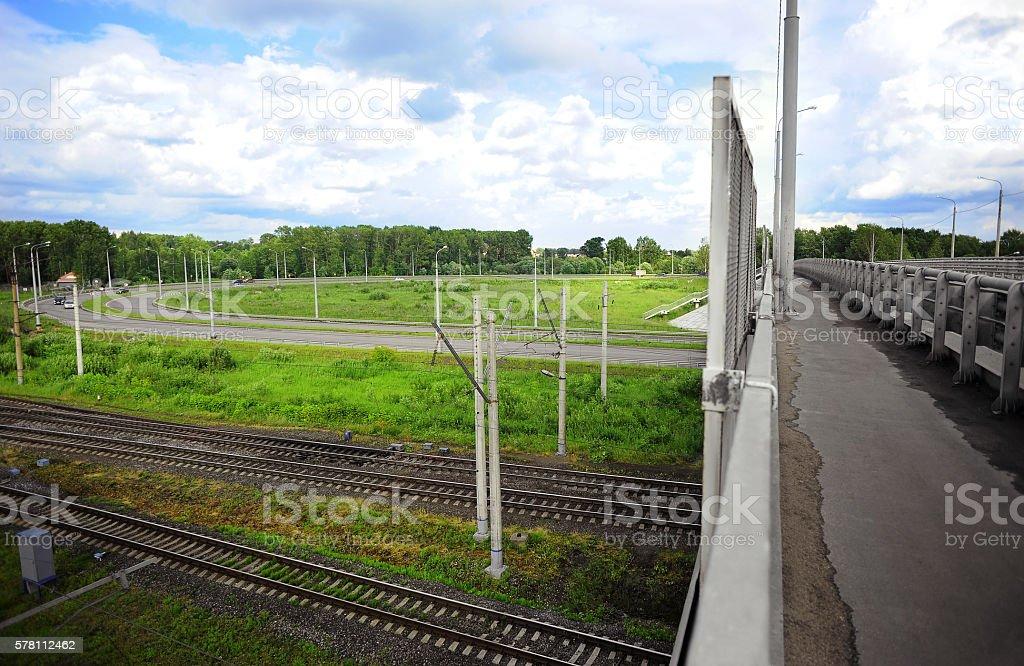 Detail of highway bridge stock photo