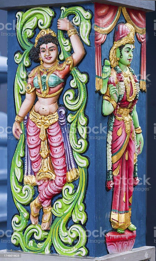 Detail of Hindu Sri Srinivasa Perumal Temple in Singapore City stock photo