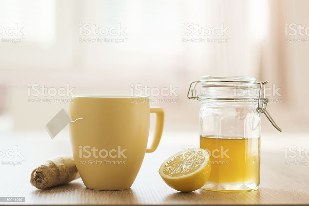 Detail of honey and lemon stock photo