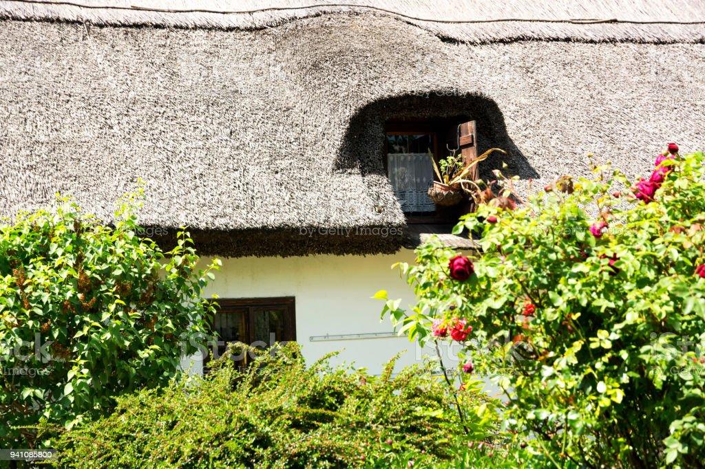 Detail of hungarian farm house in Tihany at Lake Balaton, Hungary stock photo