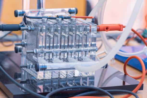 detail van waterstofbrandstof cellen - alternatieve en schone bron van energie. nieuw concept van de technologie. - waterstof stockfoto's en -beelden