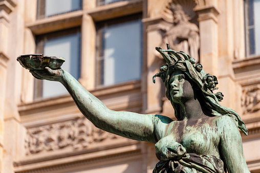 Detail of hygieia statue in courtyard of town hall Hamburg.