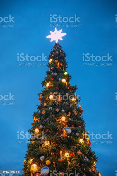 Photo of Detail of illuminated Big Christmas tree