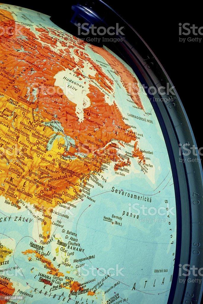 Detail of illuminated globe stock photo