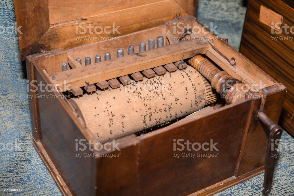 Detail of Inner Parts of Wooden Barrel Organ stock photo
