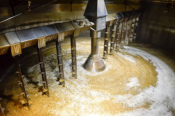 Detail of inside mash tun while making whisky stock photo