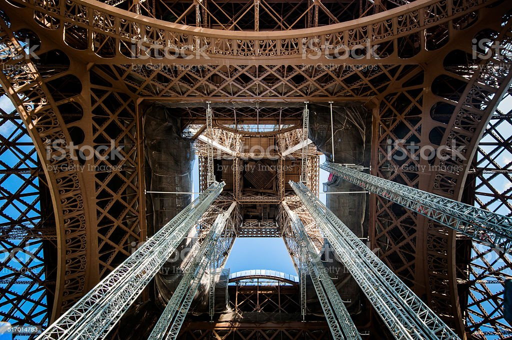 detail of inside the center of  the Eiffel Tower stock photo